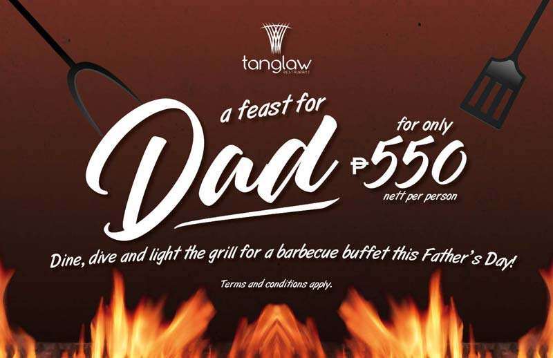 Dads eat FREE when accompanied by 4 paying adults for our Father's Day BBQ Dinner Buffet (with free use of swimming pool) on June 17th, 6-10pm.